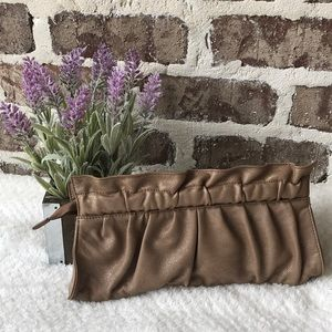 Express Tan Shimmer Clutch